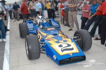 The #2 Johnny Lightning which Al Unser Sr. drove to victory in 1970 is on display