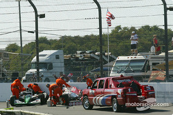 Safety crew at work after the Tomas Scheckter and Tony Kanaan crash