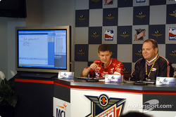 Ganassi-Microsoft press conference: Ganassi lead R&D engineer Mark Paxton and Chip Ganassi