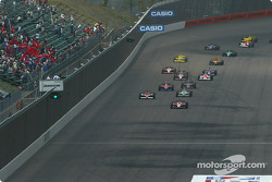 Green flag: Dan Wheldon leads the field