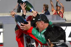 Dan Wheldon celebrates