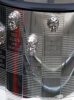 2003 Winner Gil de Ferran's pictures on the Borg Warner Trophy