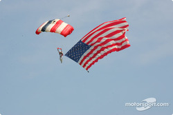 Skydiver arrives with American Flag
