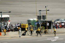 Methanol spill in Panther Racing pit area
