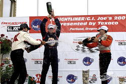 The podium: Christian Fittipaldi, Max Papis and Roberto Moreno