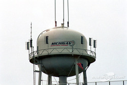 A typical sight at Michigan International Speedway: the water tank