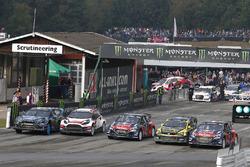 Andreas Bakkerud, Hoonigan Racing Division Ford, Timmy Hansen, Team Peugeot Hansen, Tanner Foust, Volkswagen, Davy Jeanney, Team Peugeot Hansen