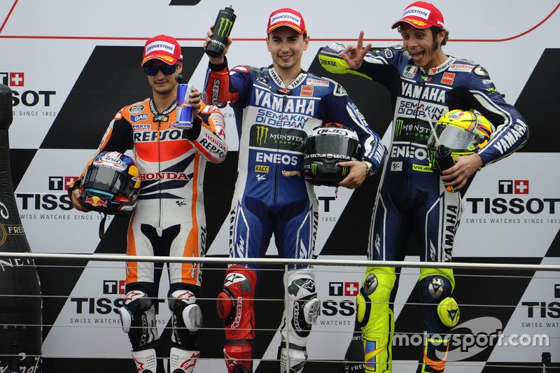 2013: 1. Jorge Lorenzo, 2. Dani Pedrosa, 3. Valentino Rossi