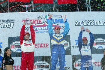 The podium: race winner Paul Tracy, Michel Jourdain Jr. and Alex Tagliani