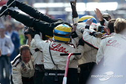 Race winner Sébastien Bourdais goes crowd surfing