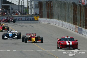 Under yellow: Sébastien Bourdais behind the pace car