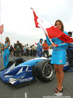 Patrick Carpentier's grid and flag girls