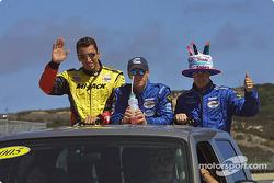 Drivers parade: Justin Wilson, Mario Haberfeld and Guy Smith