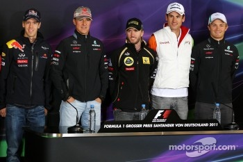 Timo Glock, Marussia Virgin Racing, Sebastian Vettel, Red Bull Racing, Michael Schumacher, Mercedes GP F1 Team, Nick Heidfeld, Lotus Renault GP, Adrian Sutil, Force India F1 Team, Nico Rosberg, Mercedes GP F1 Team
