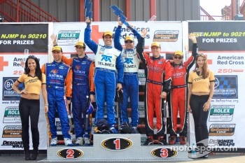DP podium: race winners Scott Pruett and Memo Rojas, second place Max Angelelli and Ricky Taylor, third place Jon Fogarty and Alex Gurney