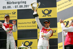 Podium: race winner Mattias Ekström, Audi Sport Team Abt, third place Mike Rockenfeller, Audi Sport Team Abt