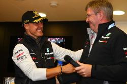 Michael Schumacher, Mercedes GP F1 Team celebrates his first F1 drive at Spa 20 years ago, Ross Brawn Team Principal, Mercedes GP