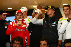 Michael Schumacher, Mercedes GP F1 Team celebrates his first F1 drive at Spa 20 years ago, Felipe Massa, Scuderia Ferrari