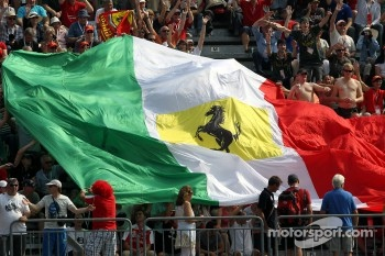 Ferrari flag in the crowd