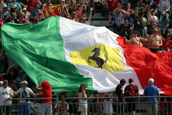 Ferrari flag in the crowd