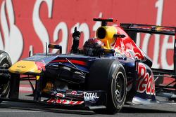 Sebastian Vettel, Red Bull Racing wins the race