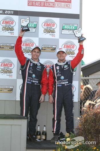 GT podium: third place Dane Cameron and James Gue