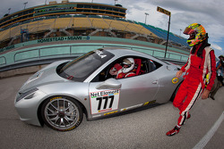 Race winner #777 Ferrari of Québec Ferrari 458 Challenge: Emmanuel Anassis congratulated by #27 Ferrari of Houston Ferrari 458 Challenge: Mark McKenzie