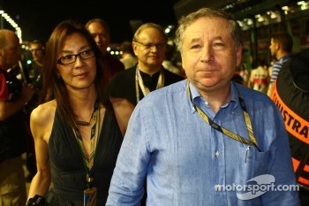 Michelle Yeoh, ex. James Bond girl, actor, Girlfriend of Jean Todt with Jean Todt, FIA president