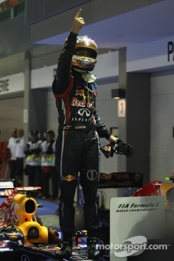 Red Bull driver Sebastian Vettel celebrates win in Singapore