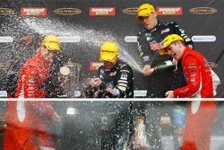 Podium: race winners Garth Tander and Nick Percat celebrate