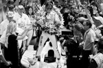 2011 Indy 500 race winner Dan Wheldon, Bryan Herta Autosport with Curb / Agajanian celebrates