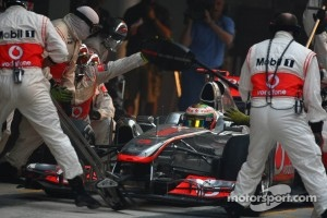 Unscheduled pit stop for Hamilton after colliding with Massa