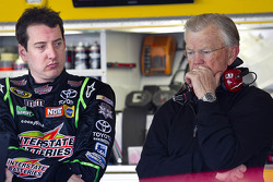 Kyle Busch and Joe Gibbs look on