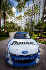 Car of Carl Edwards, Roush-Fenway Ford on dispkay in front of the Loews Hotel
