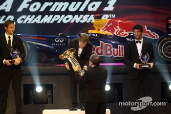 F1 champion Sebastian Vettel, second place Jenson Button, third place Mark Webber