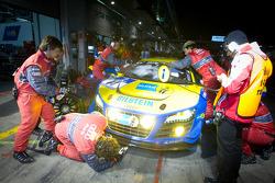 Pit stop for #14 Audi Sport Team Phoenix Audi R8LMS: Marc Basseng, Marcel Fässler, Frank Stippler