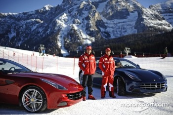 Fernando Alonso and Felipe Massa present the new Ferrari FF