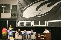 Waltrip Talk with Clint Bowyer, Michael Waltrip Racing Toyota, Mark Martin, Michael Waltrip Racing Toyota and Martin Truex Jr., Michael Waltrip Racing Toyota