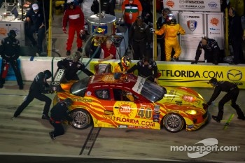 Pit stop for #40 Dempsey Racing Mazda RX-8: Patrick Dempsey, Charles Espenlaub, Joe Foster, Tom Long