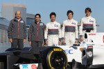 Peter Sauber, Sauber F1 Team, Team Principal with Monisha Kaltenborn, Managing director, Sauber F1 Team, Kamui Kobayashi, Sauber F1 Team, Sergio Perez, Sauber F1 Team and Esteban Gutierrez, Sauber F1 Team  - Sauber C31 Ferrari Launch
