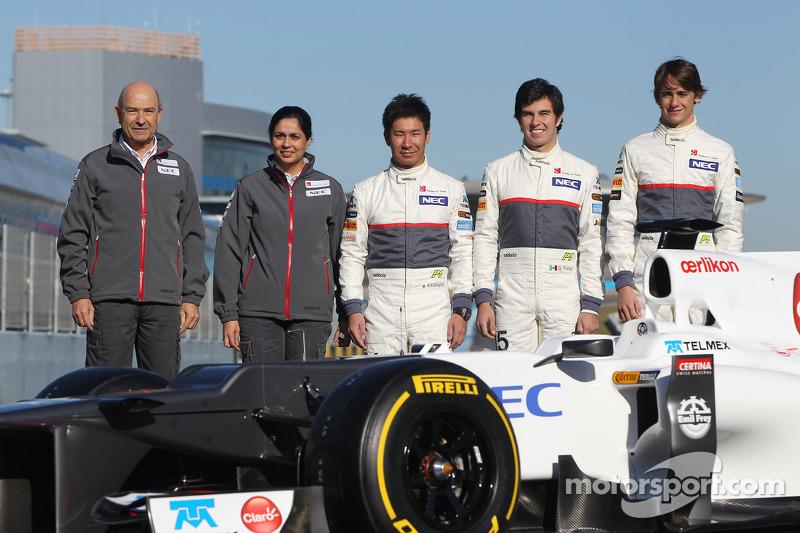 Peter Sauber, Sauber F1 Team, Team Principal with Monisha Kaltenborn, Managing director, Sauber F1 Team, Kamui Kobayashi, Sauber F1 Team, Sergio Perez, Sauber F1 Team and Esteban Gutierrez, Sauber F1 Team  - Sauber C31 Ferrari Launch