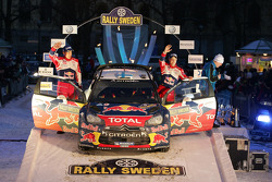 Podium: second place Mikko Hirvonen and Jarmo Lehtinen, Citroën DS3 WRC, Citroën Total World Rally Team