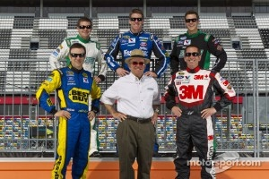 Jack Roush poses with his drivers, Matt Kenseth, Ricky Stenhouse Jr., Carl Edwards, Trevor Bayne and Greg Biffle