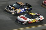 Denny Hamlin, Joe Gibbs Racing Toyota and Greg Biffle, Roush Fenway Racing Ford