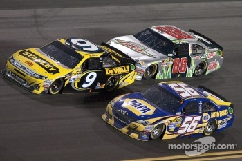 Martin Truex Jr., Michael Waltrip Racing Toyota, Marcos Ambrose, Richard Petty Motorsports Ford and Dale Earnhardt Jr., Hendrick Motorsports Chevrolet
