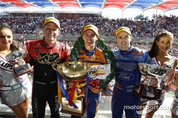 Podium: race winner Will Davison, second place Garth Tander, third place Mark Winterbottom