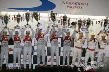 Podium: overall winners Rinaldo Capello, Allan McNish and Tom Kristensen, second place Timo Bernhard, Romain Dumas, Loic Duval, third place Enzo Potolicchio, Ryan Dalziel, Stéphane Sarrazin