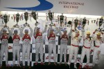 Podium: overall winners Rinaldo Capello, Allan McNish and Tom Kristensen, second place Timo Bernhard, Romain Dumas, Loic Duval, third place Enzo Potolicchio, Ryan Dalziel, Stphane Sarrazin