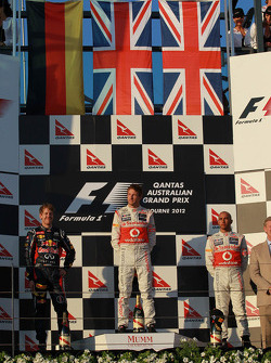 Sebastian Vettel, Red Bull Racing with Jenson Button, McLaren Mercedes and Lewis Hamilton, McLaren Mercedes
