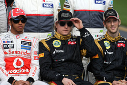 Lewis Hamilton, McLaren Mercedes and Kimi Raikkonen, Lotus F1 Team and Romain Grosjean, Lotus F1 Team